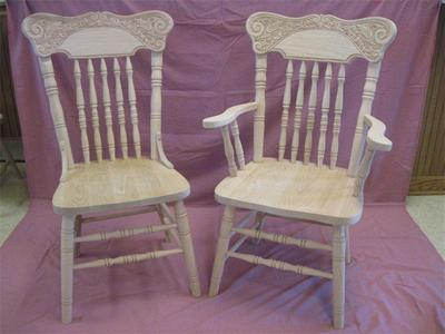 Amish Oak Pressed Back Dining Chairs