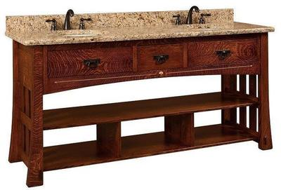 Amish 72 Marquette Mission Double Bathroom American Vanity Cabinet with Inlays
