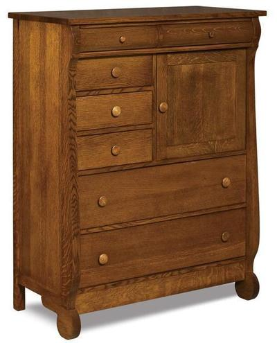 Amish Old Classic  Sleigh Gentlemans Chest of Drawers