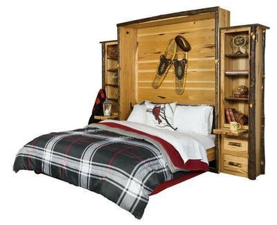 Rustic Hickory Wood Queen Murphy Bed