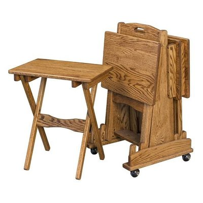 Amish Hardwood Folding TV Tray Set