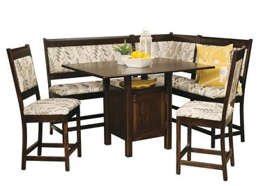 High Country Amish Upholstered Solid Wood Breakfast Nook Counter Height