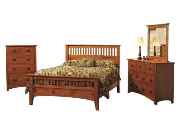Premium Siesta Mission Three Piece Bedroom Set in Cherry or Quartersawn White Oak