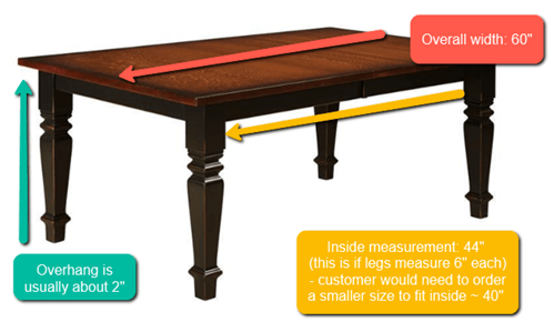 Measuring for dining bench example