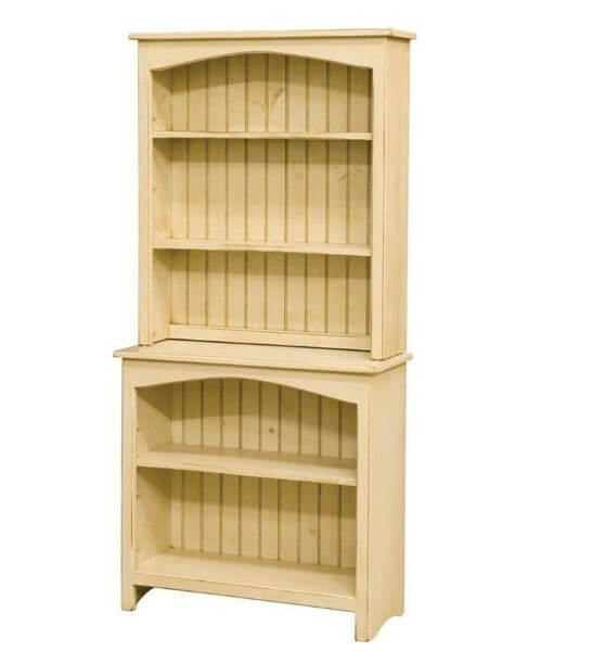 Amish Primitive Pine Hutch Bookcase