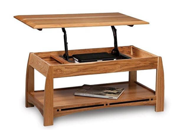 Amish Boulder Creek Mission Open Lift Top Coffee Table