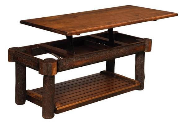 Amish Rustic Hickory Twig Coffee Table with Solid Lift Top