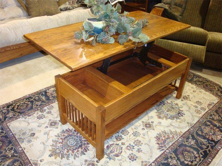 Storage inside the Classic Mission Rectangular Lift Top Coffee Table