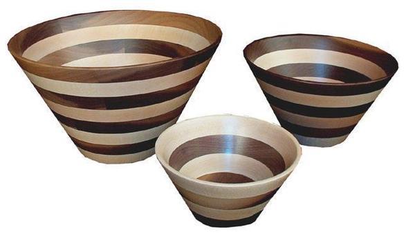 Amish Decorative Striped Wood Bowl