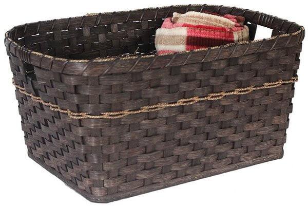 Amish Hand Woven Natural Reed Blanket Basket