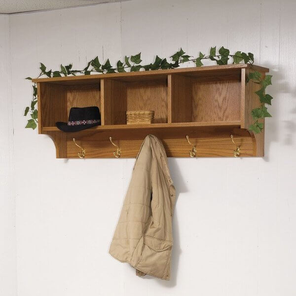 Amish Traditional Hanging Wall Shelf with Storage and Coat Hook