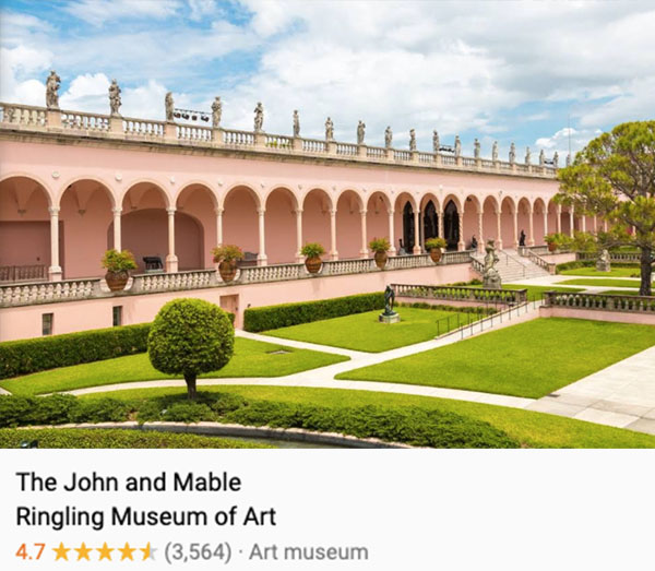 A view of the large center, well-manicured courtyard of the Ringling Museum.