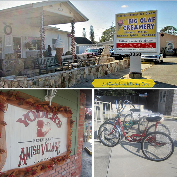 Photos of outside of Olaf's Creamery, the Yoder's Amish Village sign, and adult tricycles
