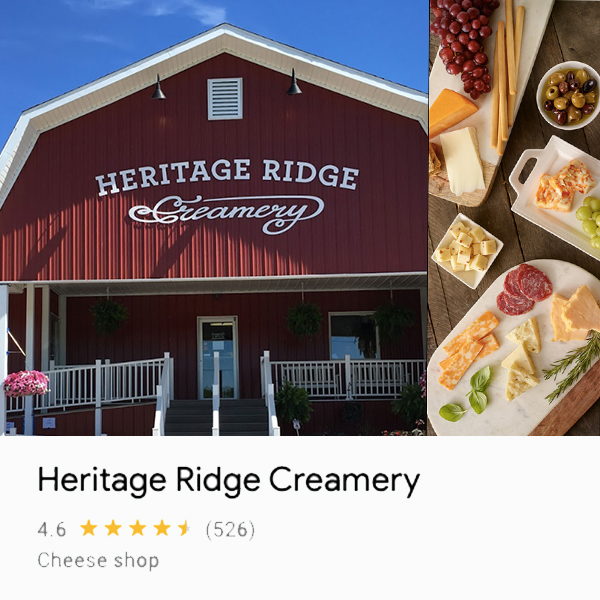 Photo of barn-looking front of Heritage Ridge Creamery building and pictures of different cheeses made by the creamery.