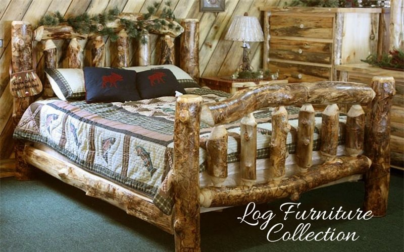 Cabin Bedroom Fitted Furniture: Amish Log Furniture Collection