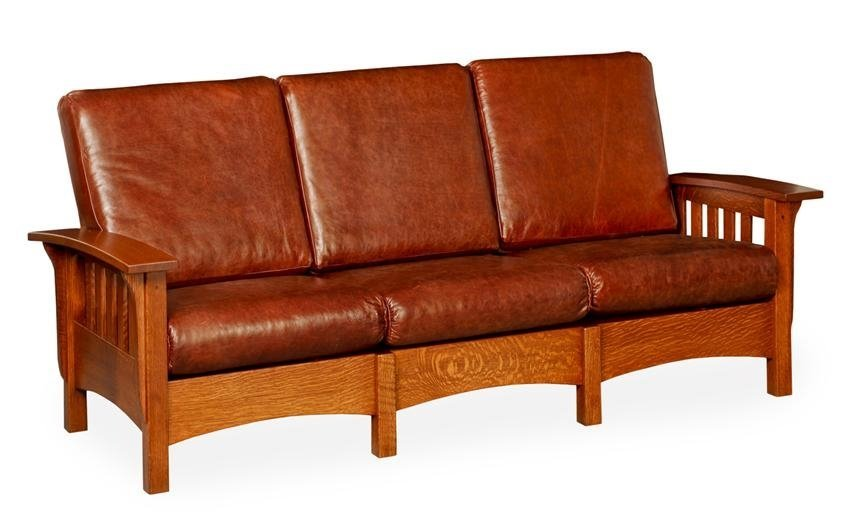 upholstered sofa with leather upholstery