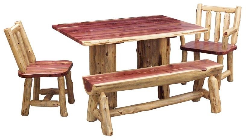 American Made Rustic Log Dining Room Table