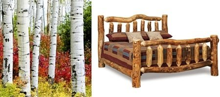 Amish Rustic Aspen Log Cabin Bed