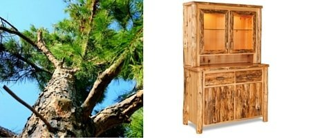 Amish Rustic Pine Log Furniture Hutch
