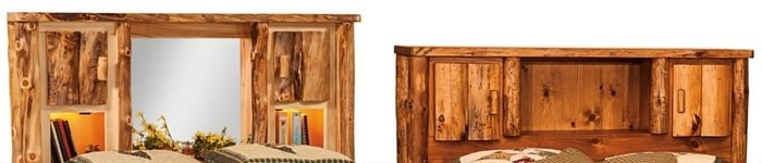 Rustic Log Furniture Bed with Bookcase Headboard