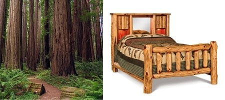 Beautiful Red Cedar Log Wood Bed