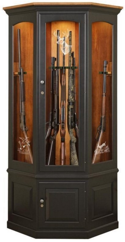 Amish Wooden Corner Gun Cabinet with Twelve Gun Carousel