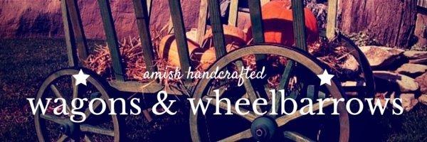 wooden wagon and wooden wheelbarrow banner