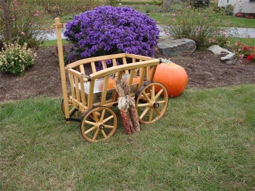 Как сделать своими руками декоративную телегу для сада своими руками 15