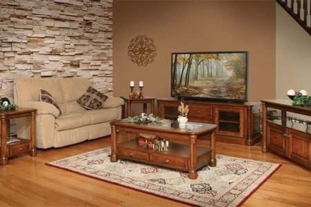 Cherry Wood Furniture in the Buckingham Living Room Set