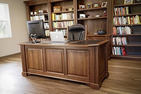 Executive Desk and Bookcases in Walnut Wood