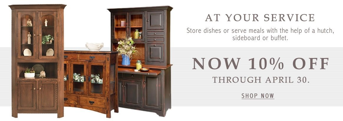Dining Storage Sale - 10% off all Hutches, Corner Hutches, & Buffets