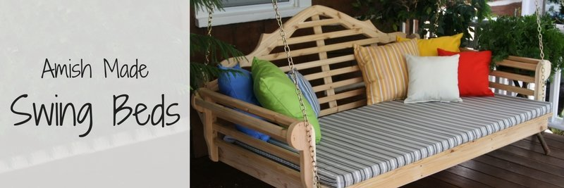 amish made swing beds, swing bed, wood swing bed, porch swing bed