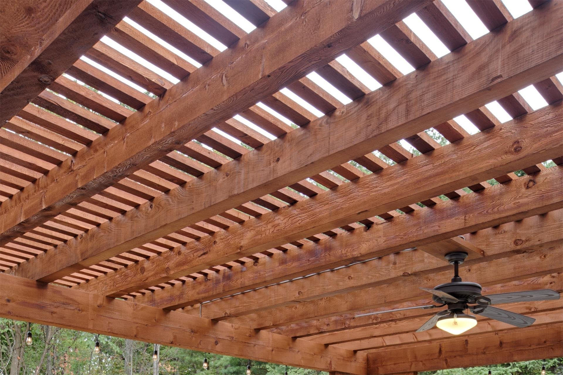 Cedar Wood Pergola with Natural Imperfections Sample