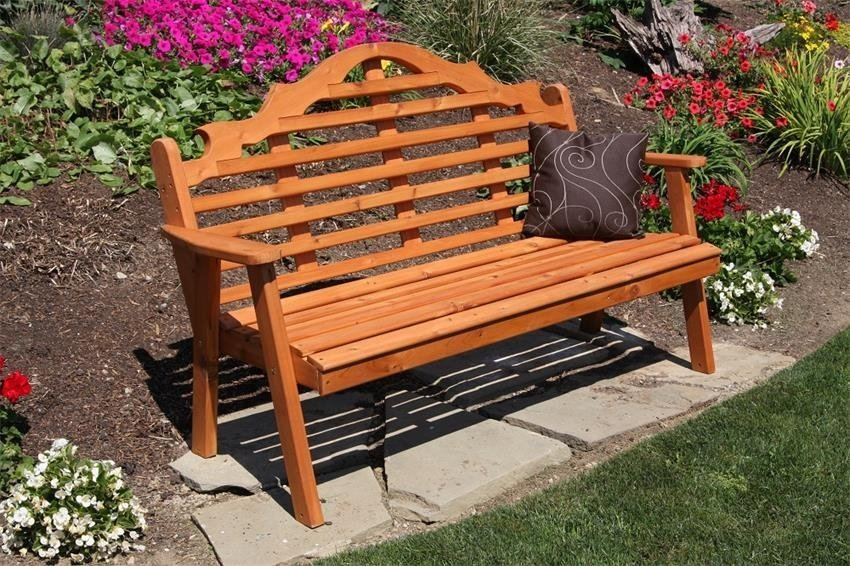 Amish Cedar Wood Marlboro Garden Bench