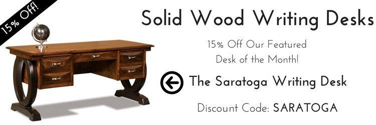 Solid Wood Writing Desks - Desk of the Month Sale - The Sarasota Writing Desk
