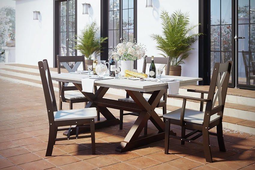 Rectangular X-Base Outdoor Poly Dining Set
