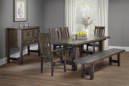 Lancaster Ouray Dining Set in Oak with Antique Slate Finish