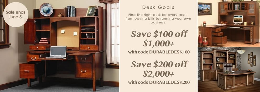 Solid Wood Desk Sale from DutchCrafters Amish Furniture