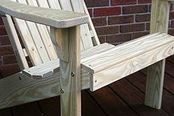 Unfinished Pine Adirondack Chair and Grain Closeup
