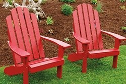 Pine Adirondack Chairs Painted in Red