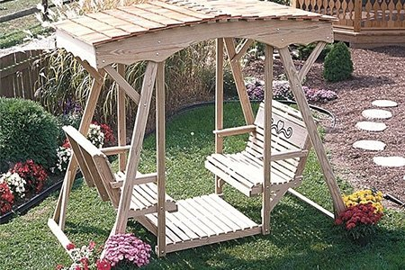 Pine Wood Cutout Heart Style Double Lawn Glider with Roof by LuxCraft