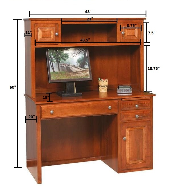 Solid Wood Student Desk with Hutch Top from DutchCrafters Amish Furniture