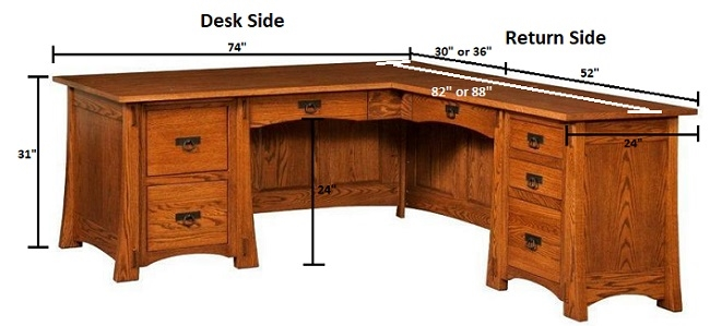 Modesto Mission Style L-Desk Dimensions