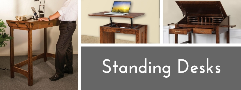 American Made Solid Wood Standing Desks from DutchCrafters Amish Furniture