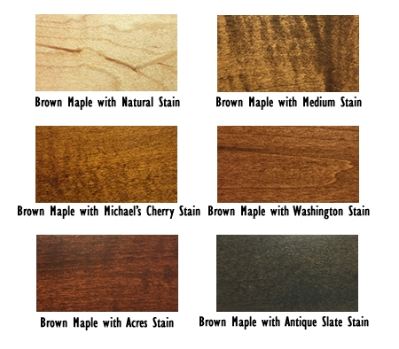 Brown maple stain samples