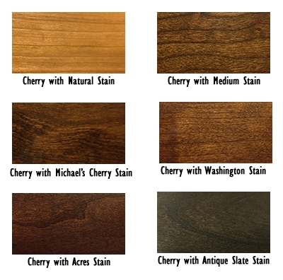 Cherry wood in dfferent stains