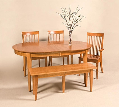 Dining table and chairs in cherry wood