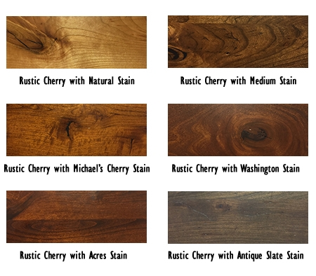 Stains samples in rustic cherry wood