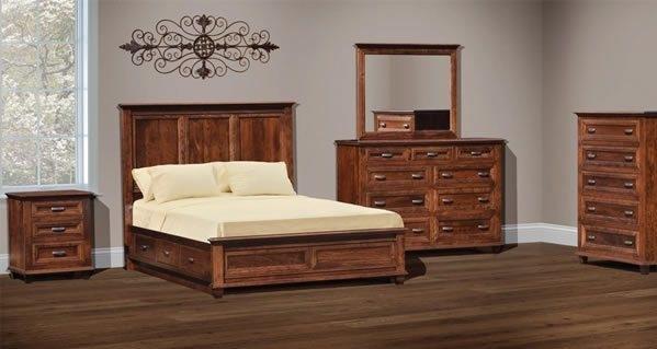 Bedroom in rustic cherry wood
