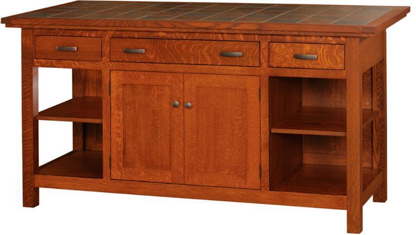 sc 1 st  DutchCrafters & Amish Brookline Mission Island with Two Doors and Three Drawers
